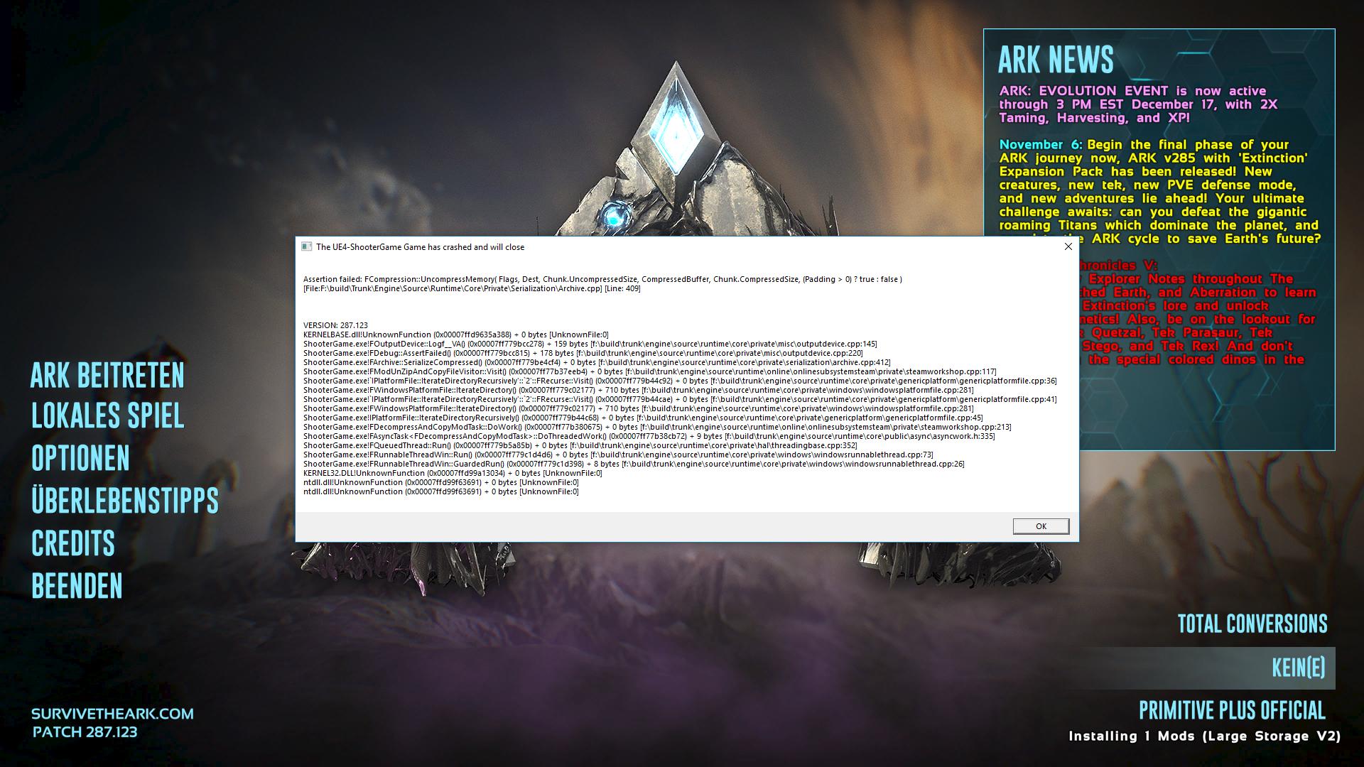 Ark Mod Fehler Meldung